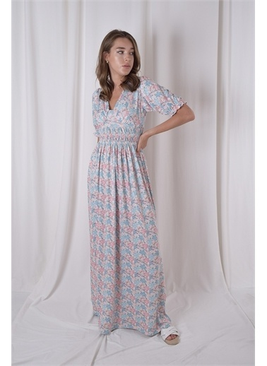 iandb Çiçek Desenli Gipeli Elbise Ruby Mavi